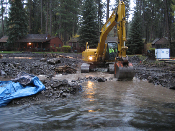 Before: The 2006 dam removal project at Lake Creek in Camp Sherman. Messy!