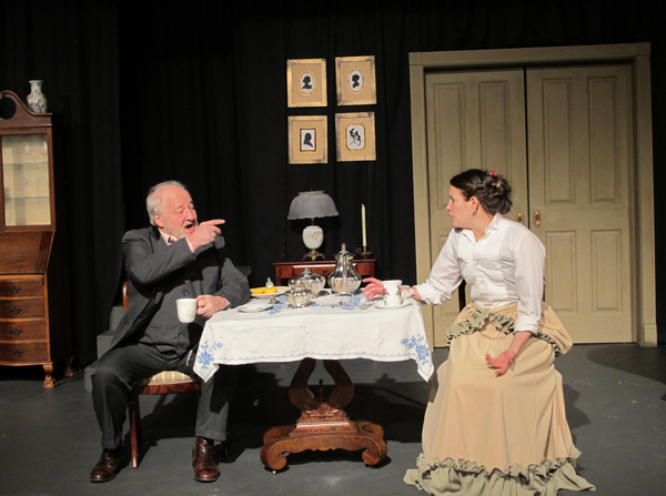 """Liam O'Sruitheain and Skye Stafford perform in Cascade Theatrical Company's production of """"Gaslight."""""""