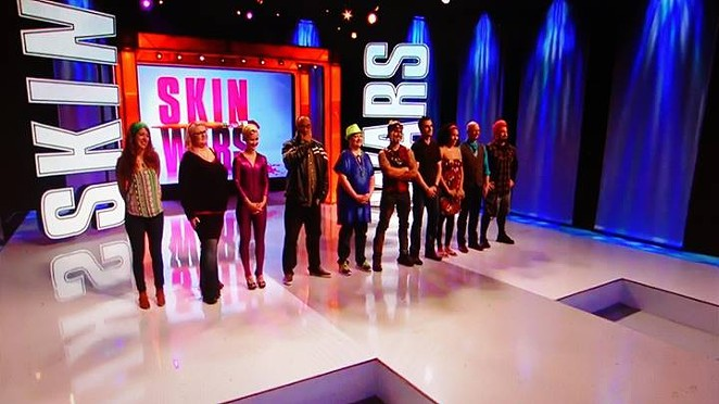 "Local body painter Natalie Fletcher (far left), faces judgement on the reality TV show ""Skin Wars."" - SKIN WARS"