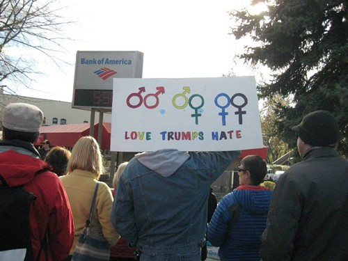 Marriage equality supporters gather for a rally in April.