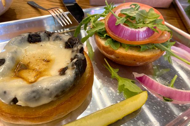 The Magic Mushroom burger is one of two vegetarian burger options at Worthy Beers & Burgers. - NICOLE VULCAN