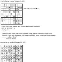 Pearl's Puzzle - Week of Jan. 18