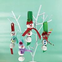 Bottle Cap Snowmen Craft