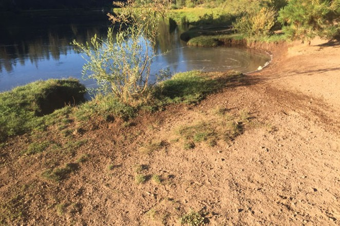 Meadow Camp in 2018, shows marked deterioration of banks and evidence of a dog recently coming on shore. - JAYSON BOWERMAN