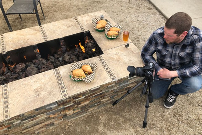Ace photographer Daniel Robbins shot all the winners' photos for this year's Guide. Here, we capture him setting up a shot at Hogan's Hoagie Stop. Whose beer is that?! - NICOLE VULCAN