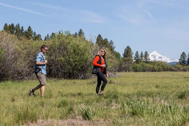 Bird surveyors hike along the Deschutes Land Trust Preserves. - COURTESY DESCHUTES LAND TRUST/JILL ROSELL