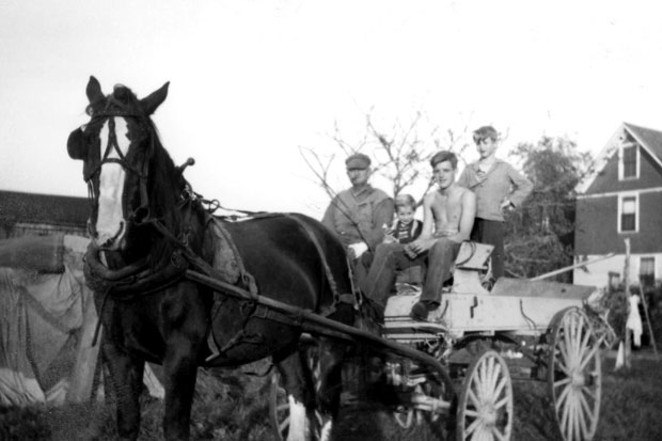 "From left, Bill (horse), Grandfather Benjamin Franklin Rockefeller, brother Richard, Jim ""Catsfur,"" and brother Don. - ""DUTCHIE"" FLORENCE ROCKEFELLER, CIRCA 1942"