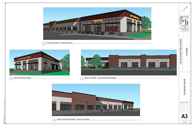 A rendering of Les Schwab's proposed building on Third Street. - CITY OF BEND EPLANS