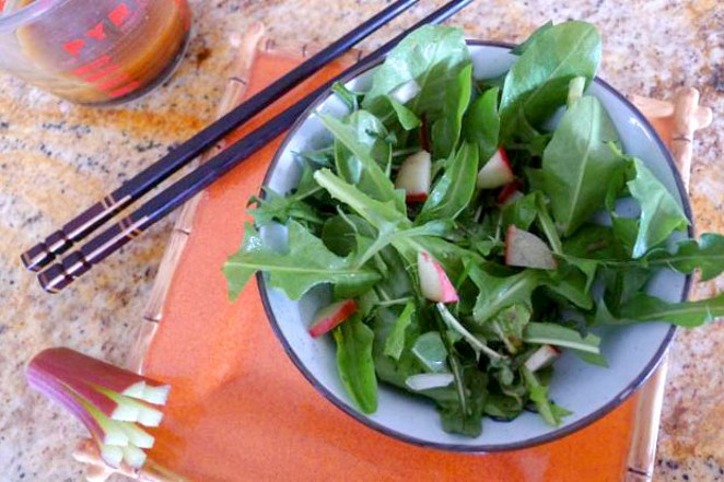 Rhubarb doesn't only have to go into pie. Here, use it as a delightful spring salad. - FLASH IN THE PAN