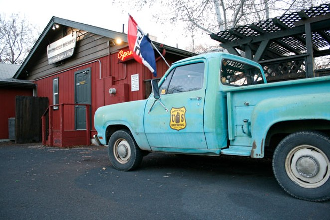 Smith Rock Brewing's iconic blue pickup. - KEELY DAMARA
