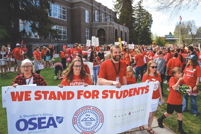 Mary Hofer, Janelle Rebick and Superintendent Shay Mikalson in the March for Students on May 8. - BEND-LA PINE SCHOOLS