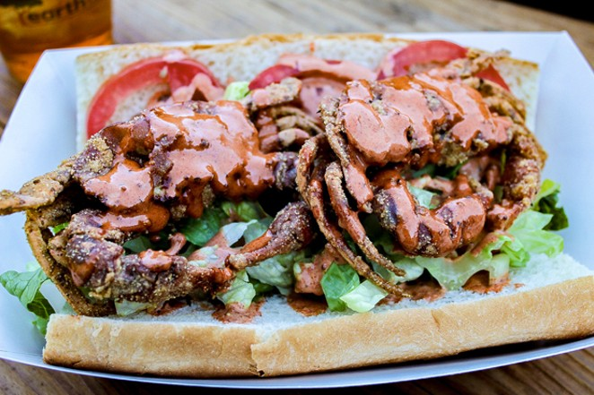 The breaded and fried soft-shell Po' Boy sandwich... worth waiting for. - NANCY PATTERSON
