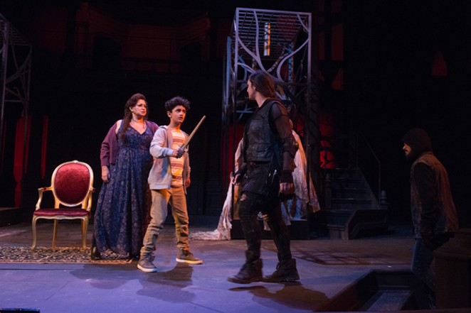 Lady Macduff (Michele Mais) and the Macduff Child (Nicolai Moore) await their fates with First Murderer (Lilia Houshmand) and Second Murderer (Torrin Kelly). - JENNY GRAHAM