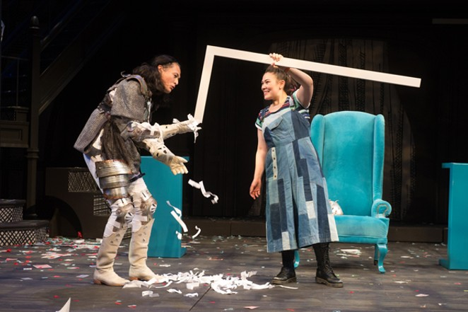 """Simple props serve a host of purposes in """"Alice,"""" here featuring  the White Knight (Cristofer Jean) and Alice (Emily Ota). - JENNY GRAHAM"""