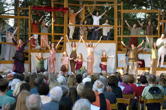 Performers put on a fun show during Theater in the Park at Drake Park. - LAY IT OUT EVENTS