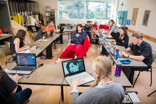 Students at OSU-Cascades learn how to incorporate their art with technology, - SUBMITTED