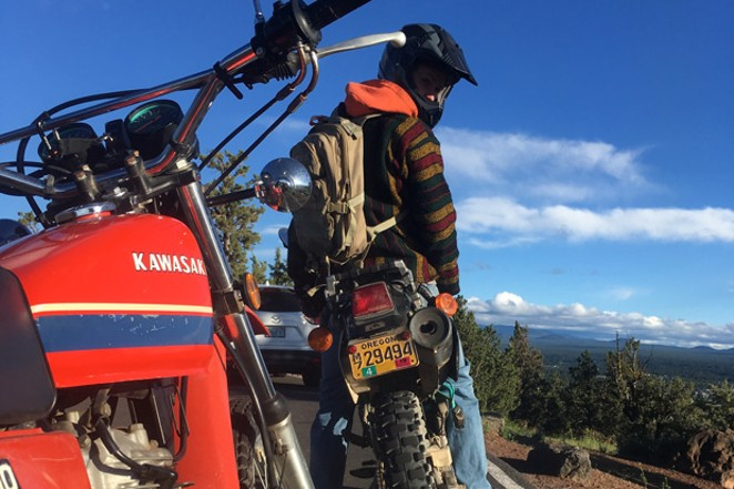 A maiden voyage up Pilot Butte on a new/used '95 Kawasaki 650 offers up a great view. - K.M.COLLINS
