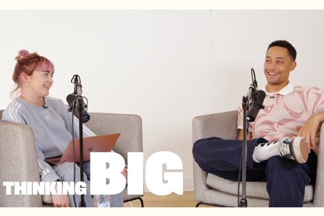 """English rapper Loyle Carner, right, guests on """"Thinking Big with Maisie Williams."""" - COURTESY YOUTUBE"""