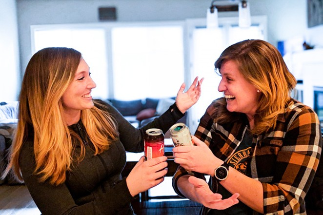 Shawndreya Garliepp, left, and Jackie DeGear mix murder and alcohol on their podcast. - COURTESY KILLER COCKTAILS
