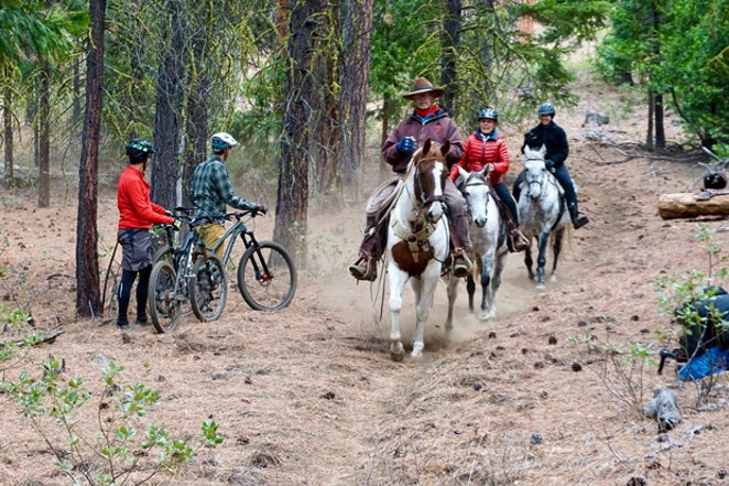 Mountain bikers and horse lovers can share the trails—and share the work that goes into maintaining them. - DESCHUTES TRAILS COALITION