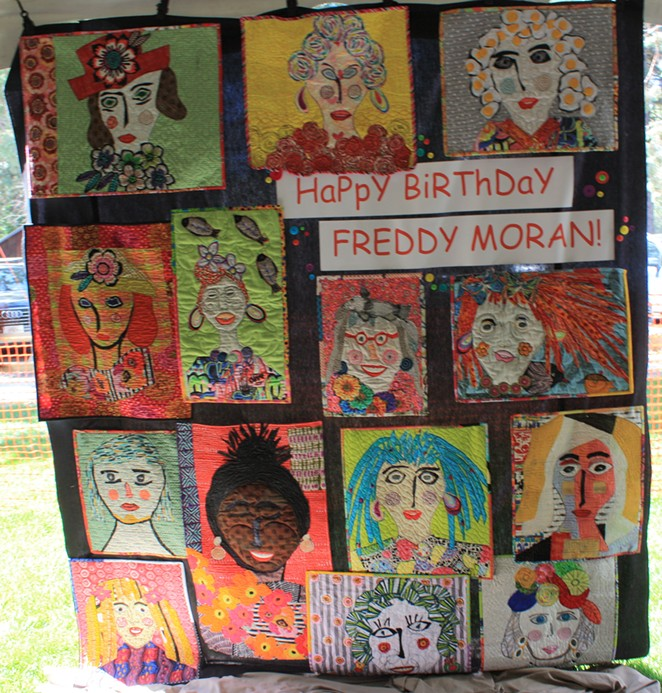 Freddy Moran's Display of Faces; at one point Moran was making as many as one face quilt a day. - TYLER ANDERSON