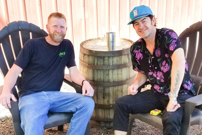 GoodLife Head Brewer Tyler West, left, visits with musician G. Love. The two collaborated on G. Love's Special Sauce IPA. - SUBMITTED