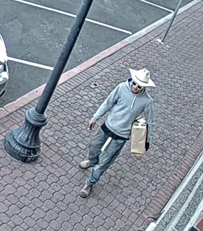 The Deschutes County Sheriff's Office released this photo of a person of interest, seen here near the Deschutes County Courthouse early Monday morning. - DESCHUTES COUNTY SHERIFF'S OFFICE