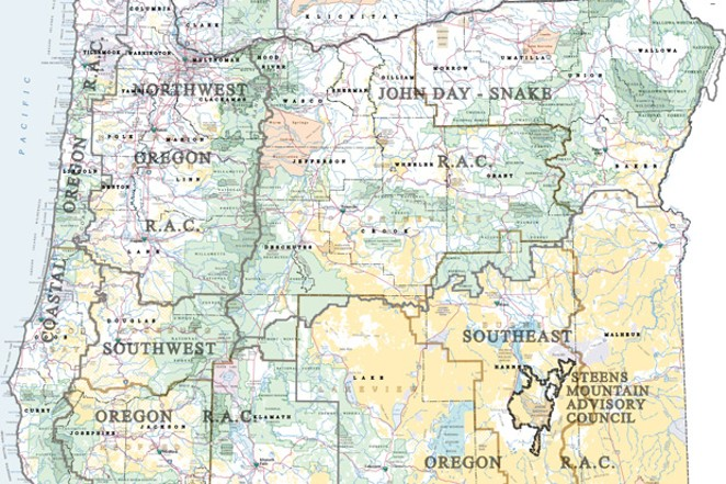 A map from BLM's website shows the boundaries of the six resource advisory councils in Oregon that advise the agency. - U.S. BUREAU OF LAND MANAGEMENT.
