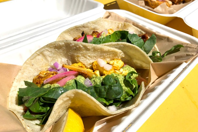 Tacos and fritters from Root Down Kitchen. - LISA SIPE