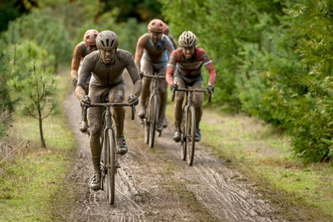 A group rides in the mud during the Cyclocross Crusade at Barton County Park in Barton, Oregon, in 2015. - MATTHEW LASALA