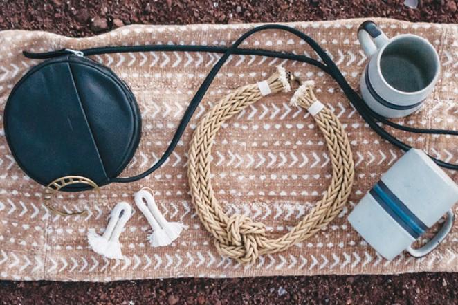 Vintage Mugs, $tbd  DimePieces / 'Zelma Rose' Bonita / Necklace, $198 Root Adorned / 'Zelma Rose' Yucca Earrings, $118  Root Adorned / 'Wanderluxe' Serpentine Cuff, $56 Root Adorned / 'Baggu' Mini Circle Purse, $128.95 ju-bee-lee / Mudcloth Pillow Cover, $tbd DimePieces - AUSTIN MONTREIL LEONARD