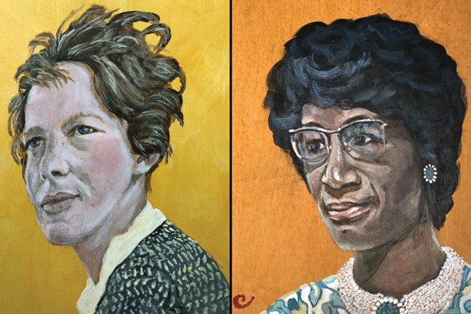 Portraits of Amelia Earhart and Shirley Chisholm by local artist Sue Carrington. - SUE CARRINGTON