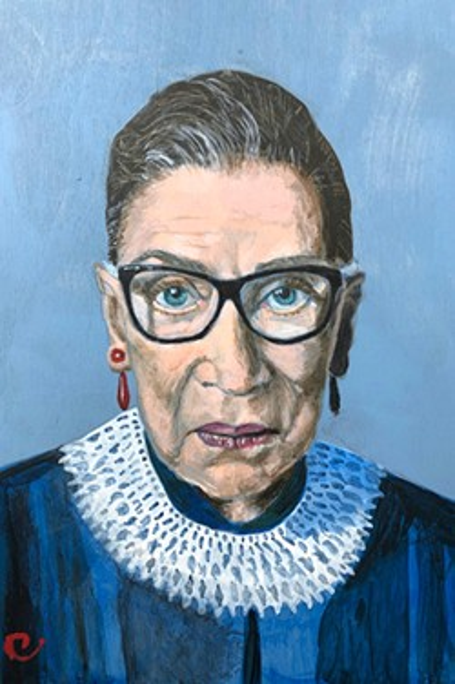 Ruth Bader Ginsburg portrait by local artist Sue Carrington. - SUE CARRINGTON
