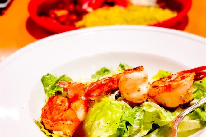 Grilled Prawn Caesar salad at Diego's Spirited Kitchen. - CAYLA CLARK