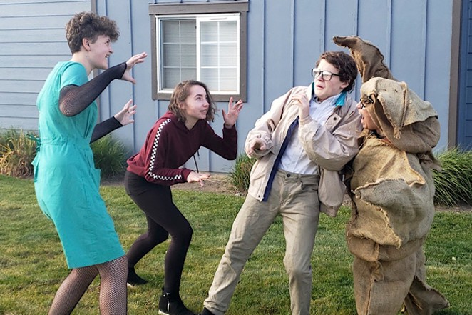 YEET members rehearse one of their numbers outside of Raechel Gilland's home. - CAYLA CLARK
