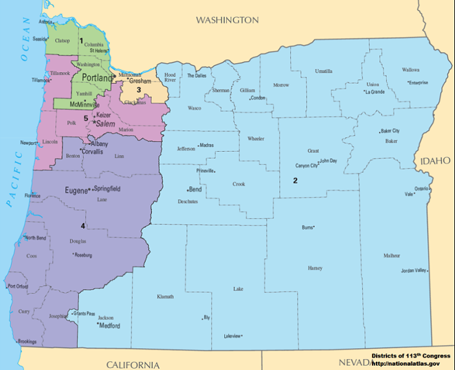 Oregon currently has five Congressional districts, but that could increase to six following the 2020 Census. - NATIONALATLAS.GOV