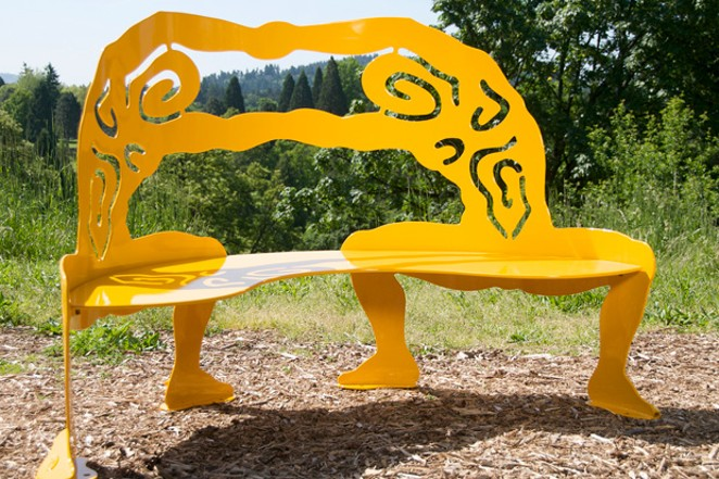 """Contact No. 2 (Bench),"" made from powder coated steel. - ALISA LOONEY"