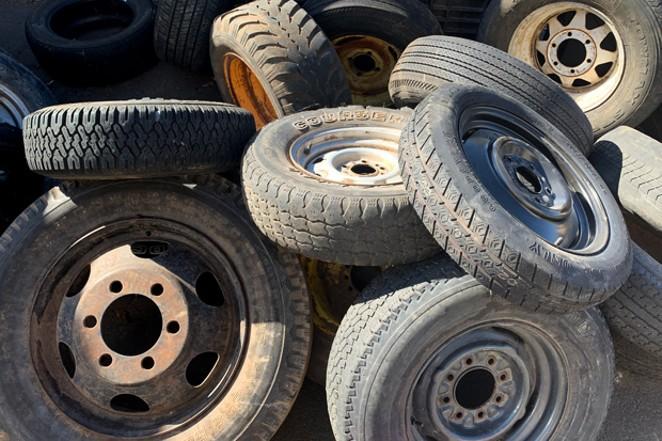 Threadbare tires ready for shredding. - SUZANNE JOHNSON