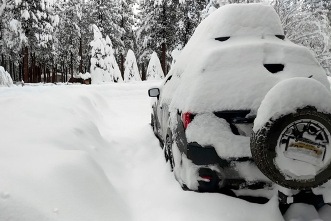 Even a mighty little Subaru is no match for this much snow. - WILL FRANKLE