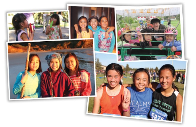 Top left to right: Hai Xing's 3rd birthday; Ava, Emily and Hai Xing at a family BBQ in 2017; Little Commuter Bike Parade in 2010; Thanksgiving at the Oregon coast in 2015; Emily, Ava and Hai Xing at a middle school cross country meet. - PAT HOWARD