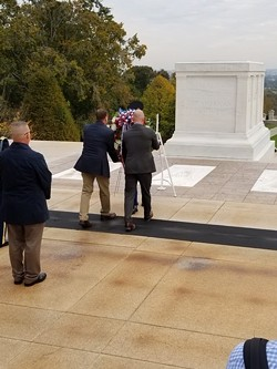 Rizzo lays a wreath at the Tomb of the Unknown Soldier on Oct. 25. - COURTESY JOSH RIZZO