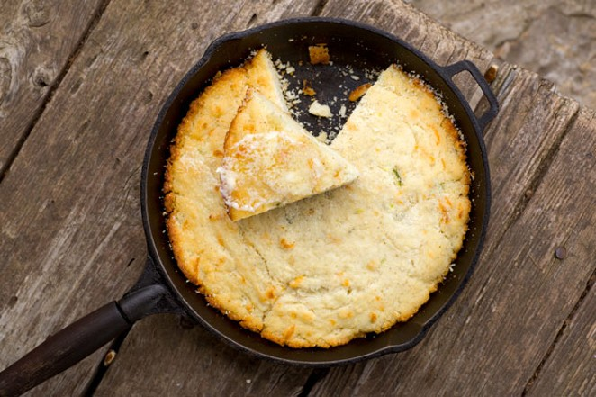 The secret to great cornbread is a very hot cast iron skillet. - TAMBI LANE PHOTOGRAPHY