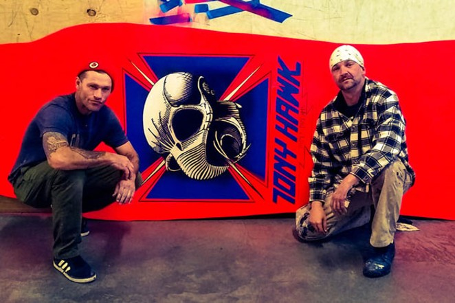 Gabe Triplette and John Pipes with the giant Tony Hawk deck. - COURTESY PIPES DREAMS