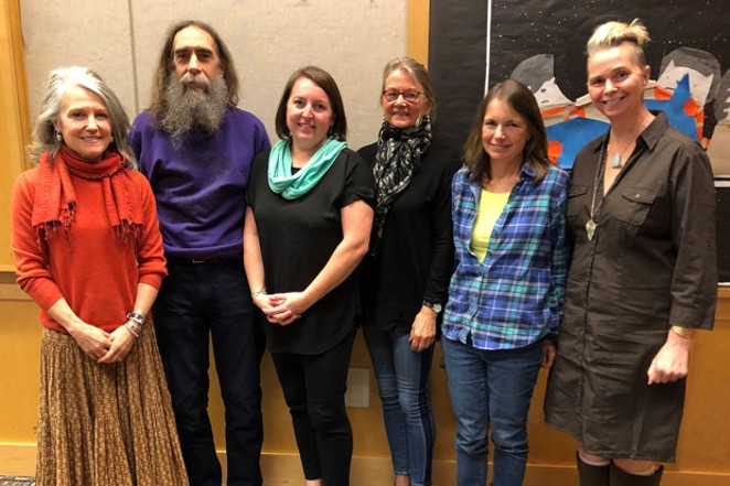 Poets in public! Six poets—including judges and winners from the Source poetry contest—read from their works Sunday at the Deschutes Public Library in downtown Bend. From left: Kit Stafford (judge), Marc Drexler (2nd place), Meli Broderick Eaton (3rd place), Ellen Waterston (honorable mention), Cat Finney (4th place) and Irene Cooper (judge). Thanks to the students and faculty from the OSU-Cascades MFA in Creative Writing program and the Deschutes Public Library for their collaboration on the contest! Photo by Nicole Vulcan. - NICOLE VULCAN