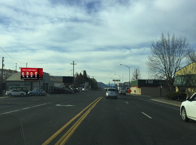 A mockup of the billboard, currently up on Pacific Highway in Medford. - COURTESY REPUBLICANS FOR THE RULE OF LAW
