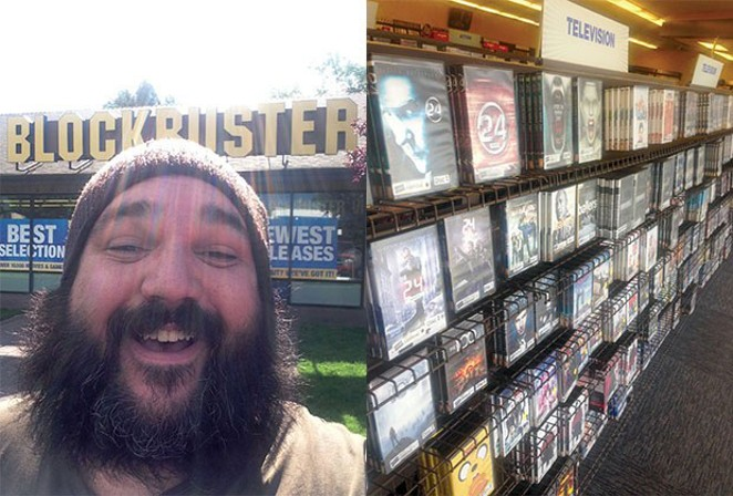 The Source's own blockbuster, film critic Jared Rasic, revels in being an actual customer of The Last Blockbuster. - JARED RASIC