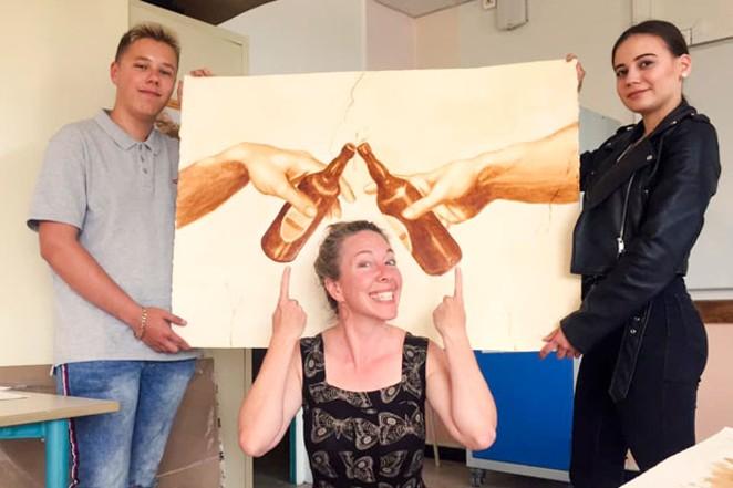 Karen Eland with her students in Douai, France. - COURTESY KAREN ELAND