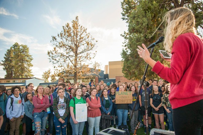 Students at Bend Senior High School walked out of class 45 minutes early on Sept. 27 as part of the Global Climate Strike. - AARON DUARTE