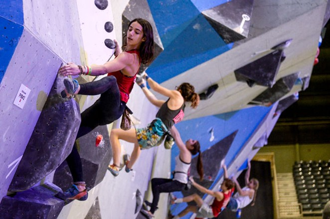 Mira Capicchioni won the Bouldering Youth National Championship in Redmond last year for female youth ages 14-15. - BY LISA CAPICCHIONI
