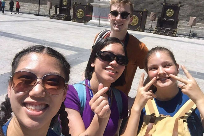 Linnea Lane hangs out with friends during her study abroad program - in China. - COURTESY OF LINNEA LANE